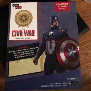 3D captain America wooden puzzle craft